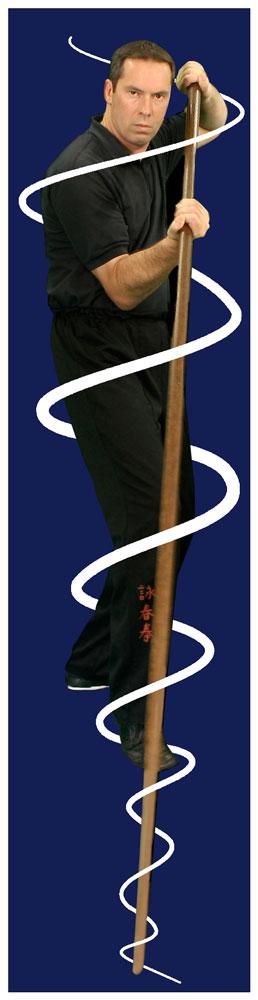 James Sinclair training on the Wing Chun Long Pole or Luk Dim Book Kwan