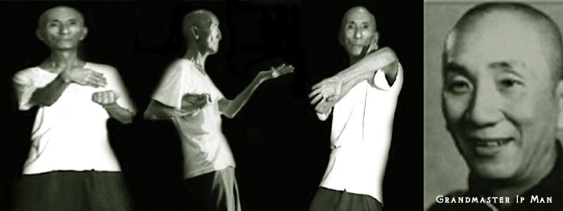 Grandmaster Ip Man demonstrating some the key moves of the Wing Chun Kuen Art.