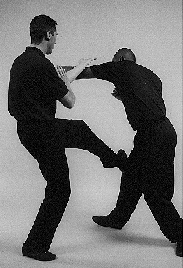 Wing Chun Wooden Dummy. Low kicking is a Wing Chun speciality. rarely used to break the leg, it is usually applied to offset's the balance. James Sinclair kicks low to the inside leg of Master Mark Phillips