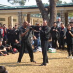 James Sinclair teaching in Hong Kong to a large outdoor audience at the 2nd World VTAA Conference. He was assisted by Master Mark Phillips of the London Wing Chun Academy. 2005