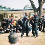 James Sinclair teaching in Hong Kong to a large outdoor audience at the 2nd World VTAA Conference. He was assisted by Master Mark Phillips of the London Wing Chun Academy. 2005.