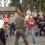 Master Mark Phillips with Master Nick Martin demonstrating for Si Gung Ip Chun in Foshan China