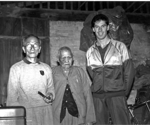 Grandmaster Pang Nam with James Sinclair and Grandmaster Ip Chun in Foshan Jan 1989