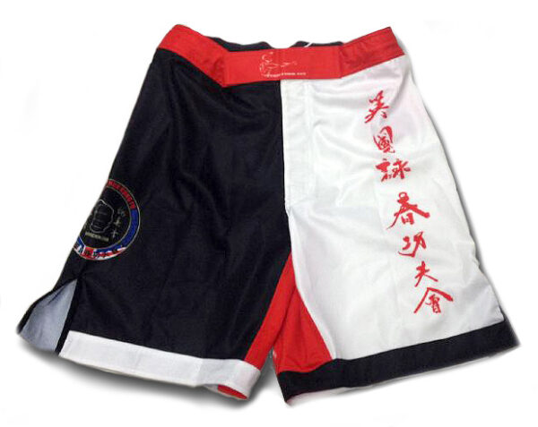 Wing Chun Shorts with hand brush caligraphy in Red and White for Instructors.