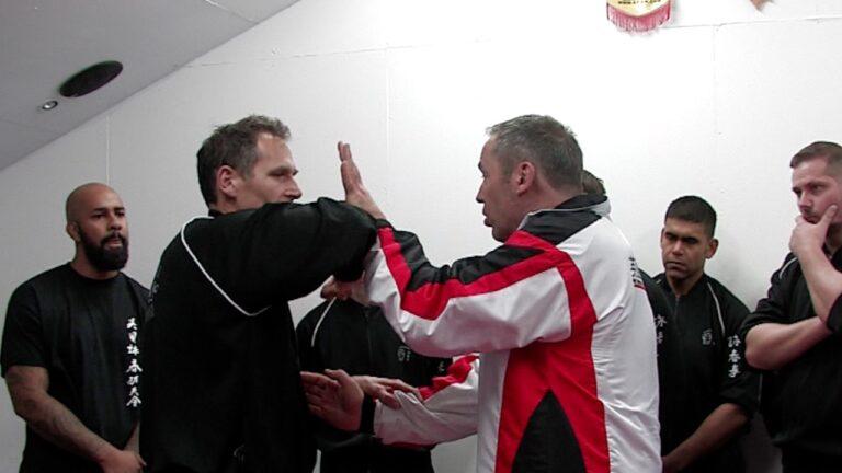 Double Chi Sau always has the threat of dangerous elbow strikes.